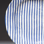 Ragged Stripe Blue. Available in 8 and 12 inch plates or 10 inch bowl.Available in 14 colors