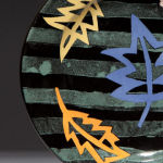 Striped Leaves Sage. Available in 8 and 12 inch plates or 10 inch bowl