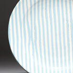 Ragged Stripe Agua. Available in 8 and 12 inch plates or 10 inch bowl.Available in 14 colors
