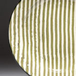 Ragged Stripe Olive. Available in 8 and 12 inch plates or 10 inch bowl.Available in 14 colors